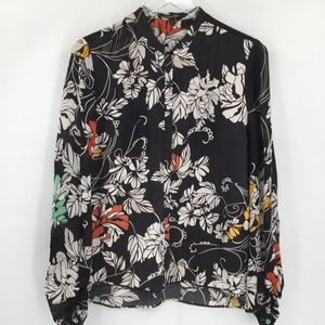 Rachel Roy black floral blouse silk button top S